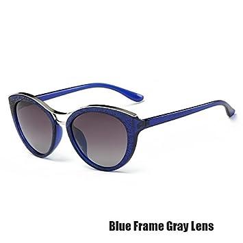 TIANLIANG04 Gafas De Ojo De Gato Para Las Mujeres Vintage Gafas Polarizadas,Azul Gris