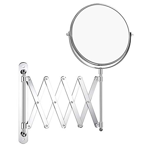 Double-Sided Magnifying Makeup Mirror, 7 Inch Diameter 1X/5X Wall Mounted Extension Adjustable Circle Rotating Function Vanity Makeup Mirror for Bedroom Bathroom Hotel, Chrome -