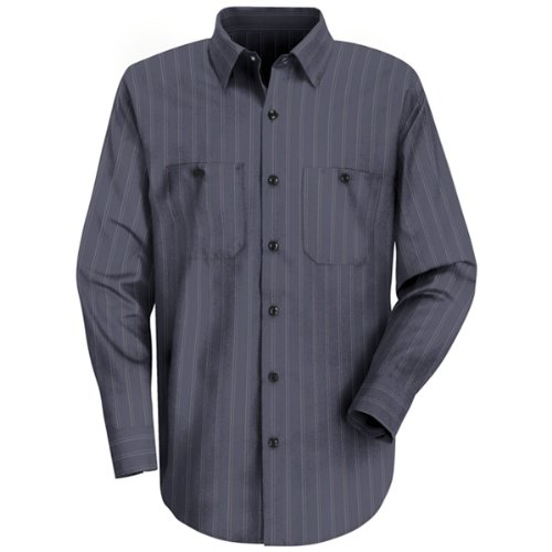 Red Kap Uniforms Men's Industrial Stripe Work Shirt, Blue...