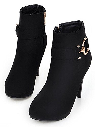 Women's Stiletto Sexy CHFSO Zipper Solid Heel Decoration Ankle Round Metal Toe High Black Boots 4gqwHCwx