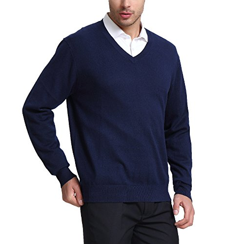 Sweater Blazer Cashmere - CHAUDER Wool V Neck Pullover Sweater Black (M, Navy Blue)