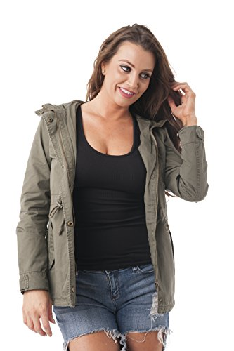 Khanomak Women's Hooded Long Sleeve Utility Military Jacket (Small, Olive)