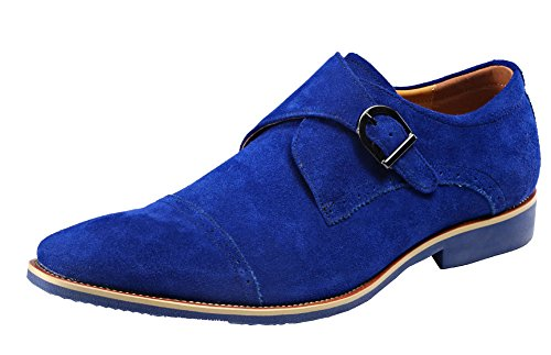 for cheap discount Men Oxford Buckle Genunie Leather Slip On Loafer Monk Strap Shoes Formal Dress Shoes Business Shoes Blue sale explore 8x1T4fv52