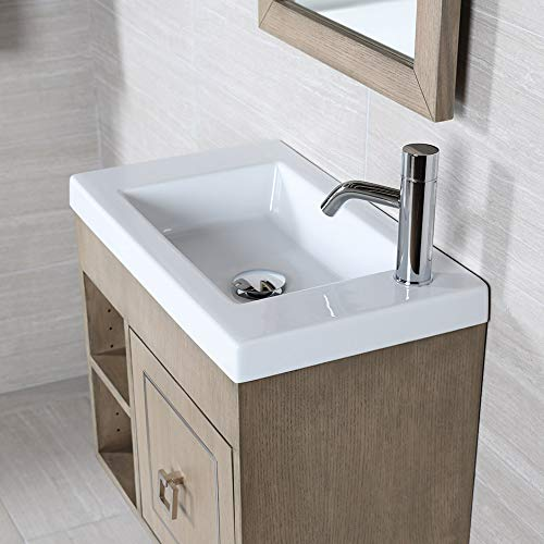 Wall-mount, vanity top or self-rimming porcelain Bathroom Sink with an overflow. One Faucet hole on the side. W: 23 3/4