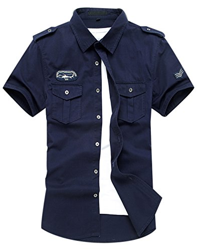 (Gihuo Men's Casual Short Sleeve Military Style Button Down Cargo Shirt with Shoulder Straps (X-Large, Navy))