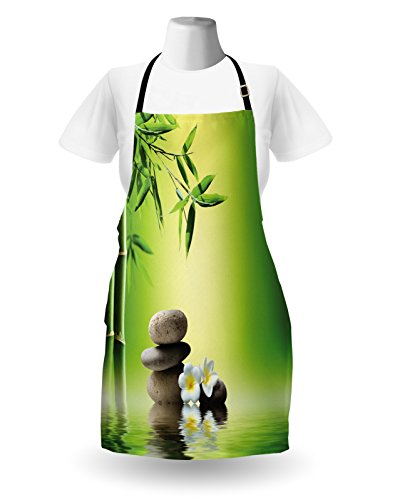 Lunarable Spa Apron, Japanese Therapy Relaxation Stones Frangipani Flowers Bamboo Tree Healthcare Theme, Unisex Kitchen Bib Apron with Adjustable Neck for Cooking Baking Gardening, Green Yellow by Lunarable (Image #1)