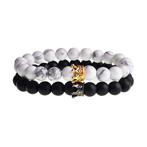 SEVENSTONE 2PCS Crown Couples Bracelet for Men Women King&Queen Bracelet Adjustable 8MM Beads