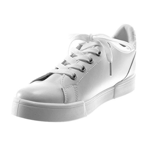 3d8867c5f27e7 Angkorly Damen Schuhe Sneaker - Sporty Chic - Tennis - Glitzer - Fertig  Steppnähte Flache Ferse ...
