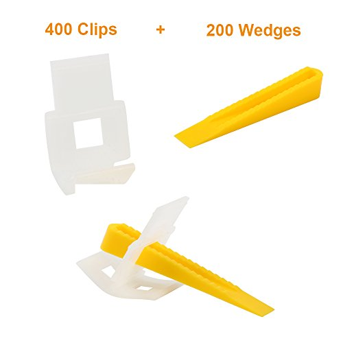 Yaekoo 400 Clips + 200 Wedges 600 Tiles Leveler Spacers Lippage Tile Leveling System DIY (Spacer Clips)