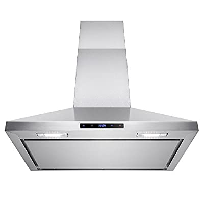 "AKDY® 30"" Wall Mount Stainless Steel Touch Control Kitchen Range Hood Noise Reduced Design w/ LED Lights"