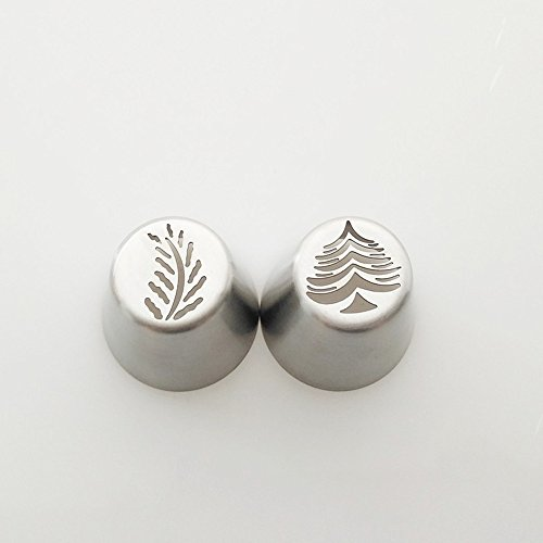 (Christmas Tree Icing Piping Tips Special Russian Leaf Nozzle Bakeware Cupcake Cake Decorating Pastry Baking Tools.(Pack of 2 pcs))
