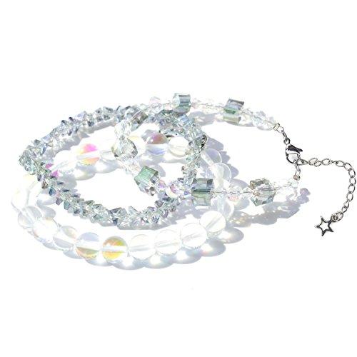 IUNIQUEEN Moonstone Rainbow Rhinestone Bead Stretch Bracelets Set Collection for Women