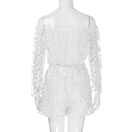 HARRYSTORE 2017 Las mujeres de hombro de impresión de encaje de impresión verano verano chaleco flojo Blanco
