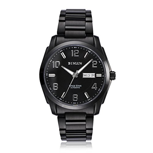 Binlun-Mens-Luminous-Army-Black-Stainless-Steel-Automatic-Mechanical-Watch-with-Calendar
