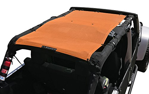 ALIEN SUNSHADE Jeep Wrangler Mesh Shade Top Cover with 10 Year Warranty Provides UV Protection for Your 4-Door JKU (2007-2017) (Krush Orange)