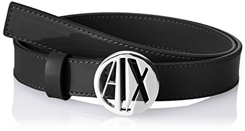 A|X Armani Exchange Women's Circular Logo Belt, black, L
