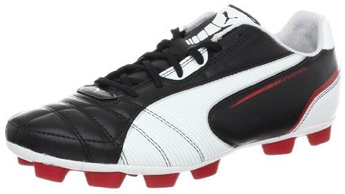 PUMA Men's Universal R HG Soccer Cleat,Black/White/Ribbon Red,7 D US