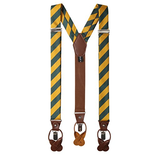 Jacob Alexander Men's College Stripe Y-Back Suspenders Braces Convertible Leather Ends and Clips - Green Gold (Black Leather Green Stripe)