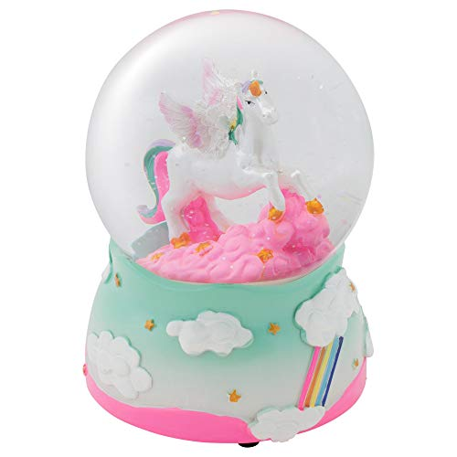 Elanze Designs Unicorn Rainbows on Teal Musical Figurine 100MM Water Globe Plays Tune The Unicorn 100 Mm Water Globe