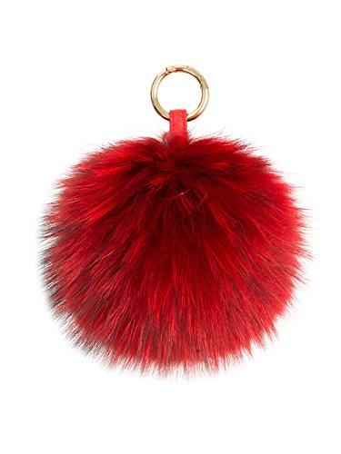 LITHER Genuine Raccoon Fur Pom Pom Puff Ball Car Keyring/Bag Purse Charm (red)