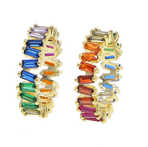 ATJMLADYJEWELRY Rainbow Baguette Cz Eternity Band Trendy Engagement Wedding Stack Rings for Women
