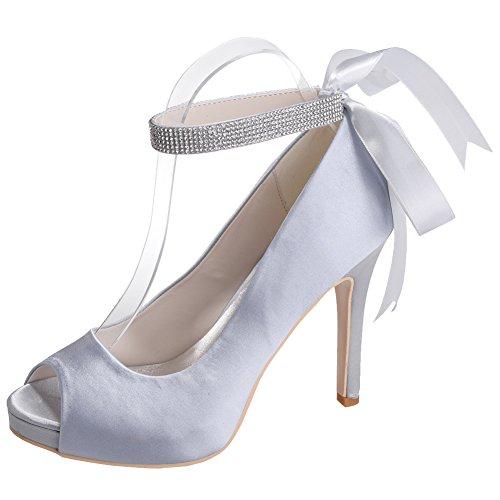 Loslandifen Femmes Élégant Peep Toe En Satin Pompes Cheville Sangles Stiletto Haut Talon Chaussures De Mariage En Argent