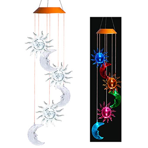 Asbana Solar Powered Wind Spinner Light, 3 Suns and 3 Moons with 7 Colors Changing Wind Light, Waterproof Hanging Wind Chime Lamp Mobile Suspended Light for Home Outdoor Garden Lighting Decor For Sale