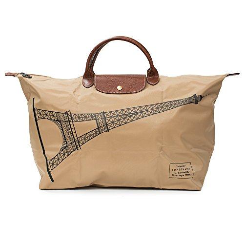 Longchamp Beige Tour Eiffel Paris Top Handle Travel Bag New (Bags Eiffel Tour)