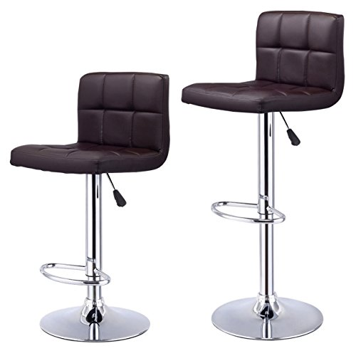 Set of 2-Bar Stools Durable PU Leather Pneumatic Adjustable 360 Degree Swivel Pub Chairs New / Brown #1008 (Naples Cushions Fl Outdoor Furniture)