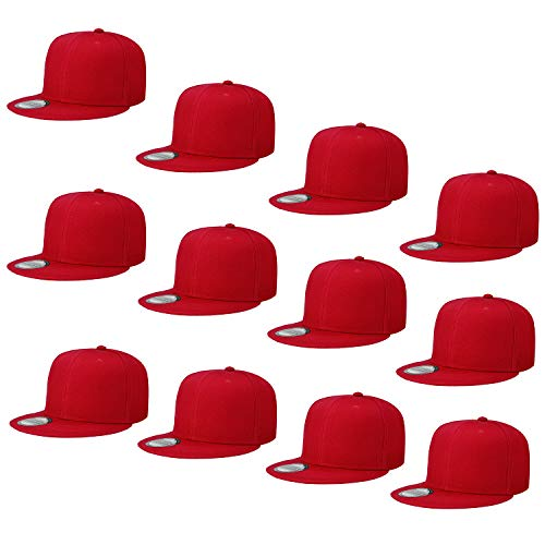 (Falari Wholesale 12 Pack Snapback Hat Cap Hip Hop Style Flat Bill Blank Solid Color Adjustable Size G212-03-Red)