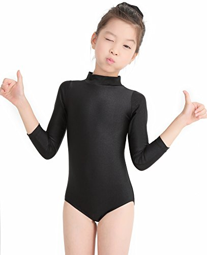(Speerise Toddler Girls Long Sleeve Ballet Dance Leotard for Kids and Teens, Black,)