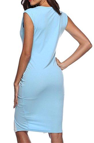 s Cromoncent Women Sky V Slim Pencil Sleeveless Blue Block Dress Deep Color Sundress U5fF5q
