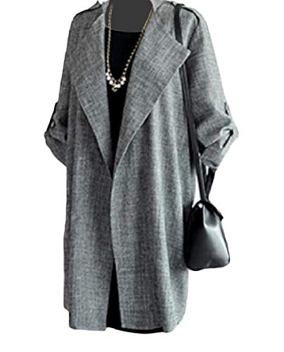 Tootless-Women Open-Front Relaxed Solid Color Thin Mid Long Business Coat Dark Grey 4XL by Tootless-Women