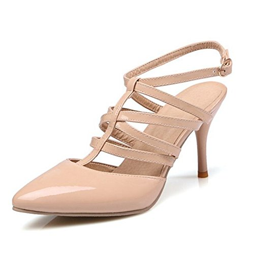 SJJH Thin Heel Women Sandals with Plus Size 11 UK and 4-Colors Available Casual Working Shoes Comfortable and High Fashion Beige MhqvM