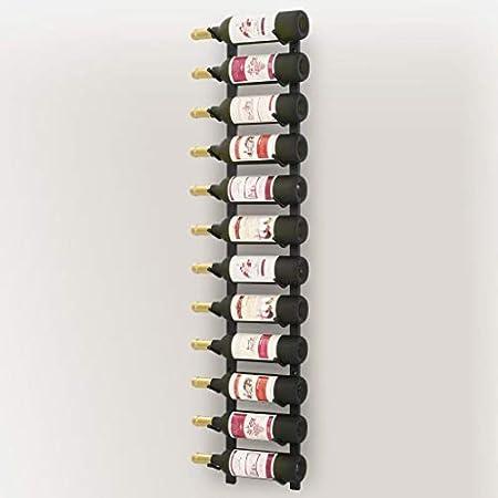 Tidyard Botellero de Vino Estante del Vino Estantería Botellero de Pared para 25 Botellas Hierro Negro