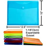 FANWU 12 Pack Assorted Color Plastic Envelopes with