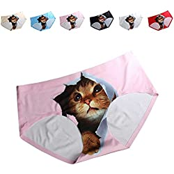 FasiCat Pussycat Panties Cat Underwear Safty Sexy Lingerie Hipsters Invisible 3D Cat Brief For Women One Size Pink