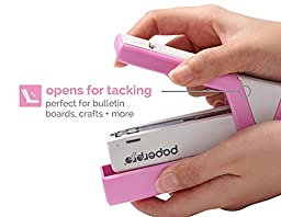 PaperPro inCOURAGE 20 Reduced Effort Compact Stapler with Built-in Staple Remover, 20 Sheets, Pink/White (1588)
