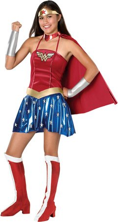 Teenager Halloween Costumes (Justice League Teen Wonder Woman Costume, Red, Teen)