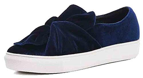 Easemax Kvinna Trendiga Frostade Veckad Rund Tå Plattform Låg Kilklack Sneakers Blå
