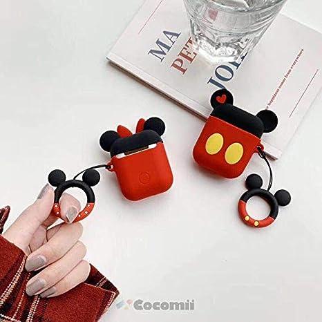Moda Adorable Ligero Case Carcasa for AirPods Lindo Personaje De Disney AD.Minnie Divertidos Dibujos Animados En 3D De Kawaii con Llavero Anillo Cocomii Disney Armor AirPods Funda Nuevo