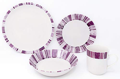 Tudor 16-Piece Premium Quality Round Porcelain Dinnerware Set,BOHEME PURPLE, Service for 4, See 10 Designs Inside! (Floral Purple Dinnerware)