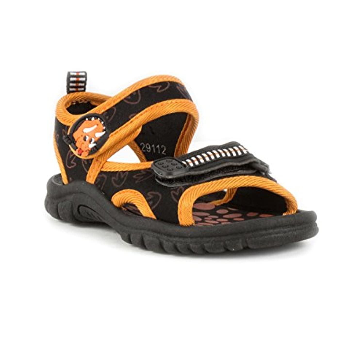 Walkright Boys Black & Orange Dino Sandals - Size 4 - Black