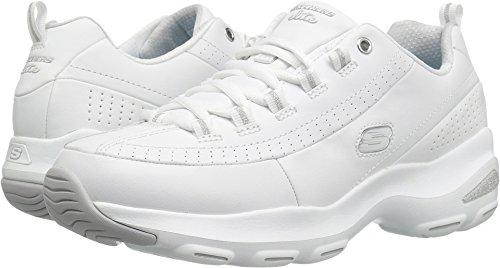 Skechers Sport Women's D'Lite Ultra-Illusions Fashion Sneaker, White Silver, 9 M US (White Illusion)