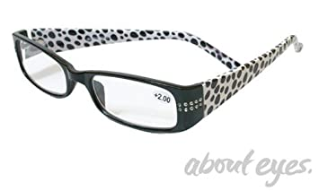 23bada10d23 Image Unavailable. Image not available for. Color  About Eyes Polka Dot  With Crystals Reading Glasses +1.5 Black   White