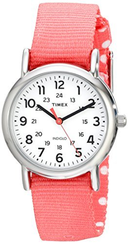 Timex Womens TW2P656009J Weekender Silver-Tone Watch with Reversible Pink Nylon Band