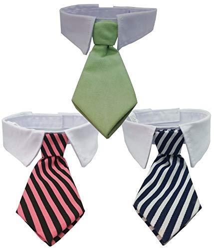 3 Corbatas para perros y gatos Color Verde, Rosa y Negro, Azul y ...