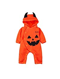 Newborn Baby Pumpkin Romper Bodysuit, Long Sleeves Hooded Outfits Clothes