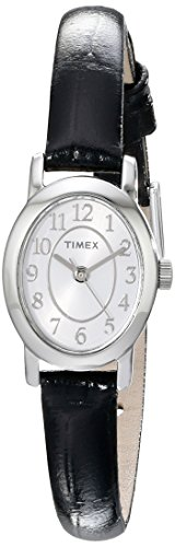 (Timex Womens Cavatina Black Leather Strap Silver-Tone Case Dress Watch TW2P60400)