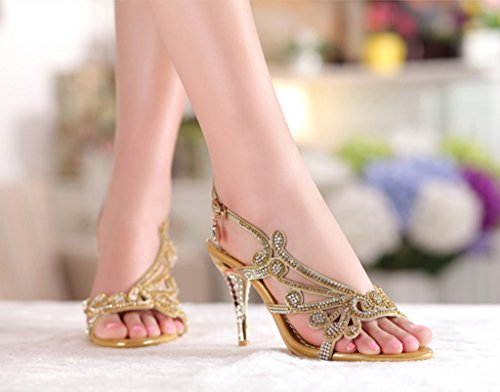 Gold Summer Shoes Littleboutique Sandals Strappy Heels Studs Sandal Dress Shoes Evening Crystal Wedding qx7wROCF